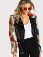 Romwe Faux Fur Sleeve And Collar Biker Jacket