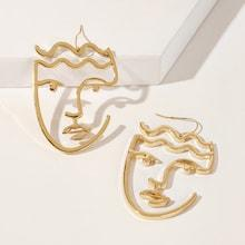 Romwe Hollow Face Design Drop Earrings 1pair