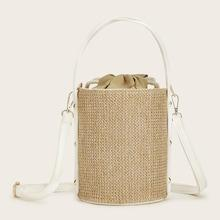 Romwe Woven Bucket Bag With Drawstring