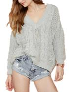 Romwe V Neck Hollow Loose Sweater