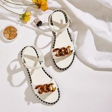 Romwe Studded Detail Buckle Strap Sandals