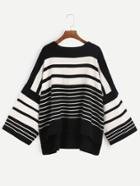 Romwe Black White Striped Drop Shoulder High Low Sweater