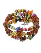 Romwe Coffee Wood Beads Bracelet