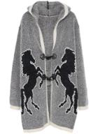Romwe Hooded Horse Print Cardigan