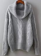Romwe Grey High Neck Cable Knit Sweater