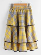 Romwe Checked Tiered Ringer Skirt