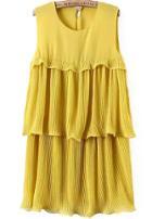 Romwe Sleeveless Ruffle Chiffon Yellow Dress
