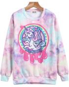Romwe Pink Long Sleeve Horse Print Sweatshirt