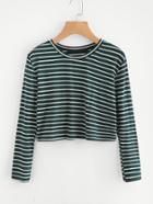 Romwe Striped Crop Tshirt