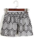 Romwe Elastic Waist Lace Embroidered Shorts