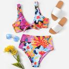 Romwe Random Floral Top With High Waist Bikini Set