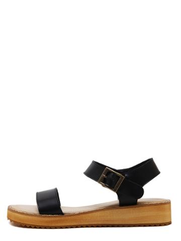 Romwe Black Peep Toe Flatform Buckle Wedges