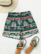 Romwe Printed Random Elastic Waist Shorts