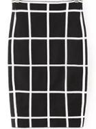 Romwe Checkered Split Side Bodycon Skirt
