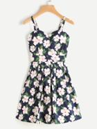 Romwe Allover Floral Print Random Box Pleat Cami Dress