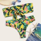 Romwe Random Jungle Print Tie Front Bandeau Bikini Set