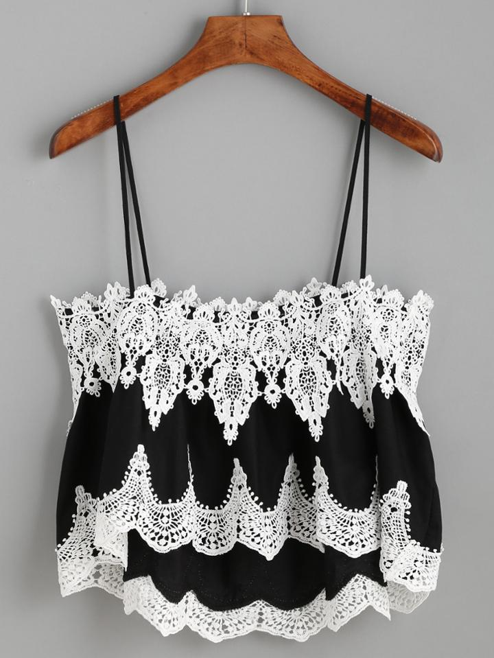 Romwe Contrast Crochet Cami Top
