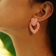 Romwe Open Textured Heart Stud Earrings 1pair