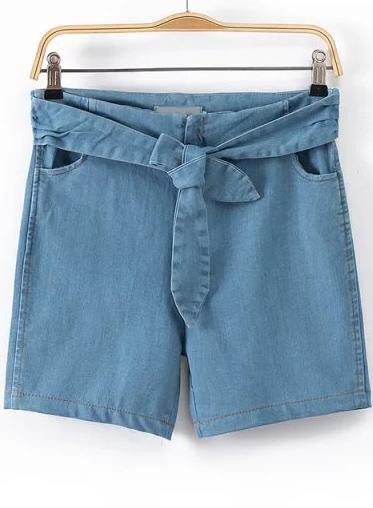 Romwe Blue High Waist Bow Denim Shorts