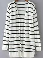 Romwe Striped Open-knit White Cardigan