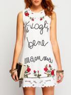 Romwe Sleeveless Florasl Embroidered White Tshirt Dress