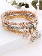 Romwe Anchor And Rhinestone Charm Bracelet Set