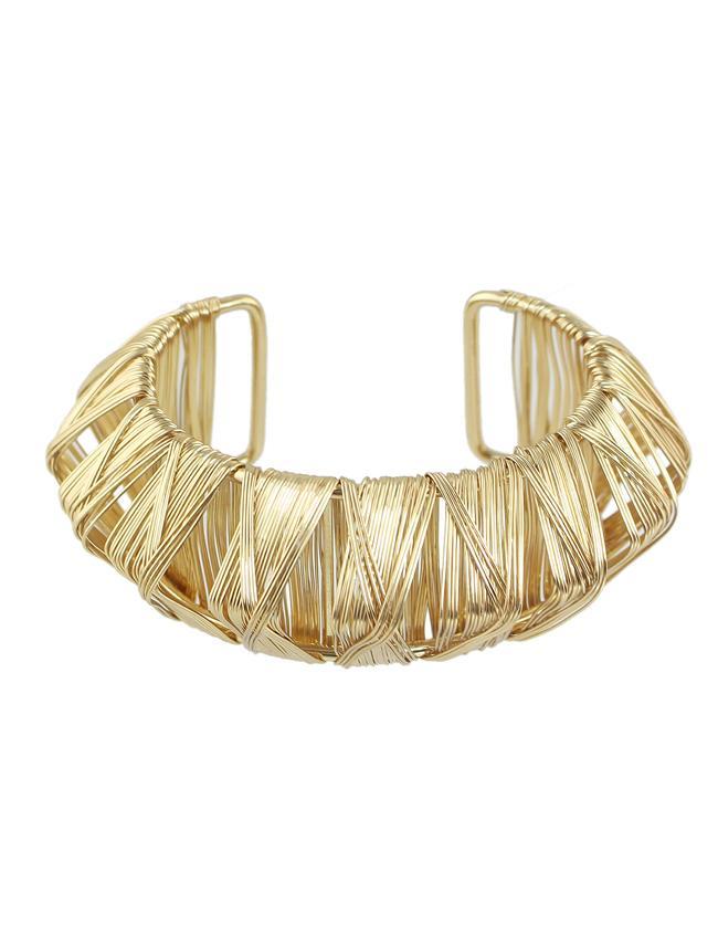 Romwe Gold Plated Adjustable Bracelet And Bangle