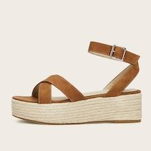 Romwe Ankle Strap Espadrille Suede Sandals