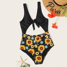 Romwe Random Sunflower Print Cut-out One Piece Swimsuit