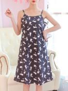 Romwe Dog Print Cami Dress