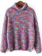 Romwe Women Turtleneck Loose Sweater