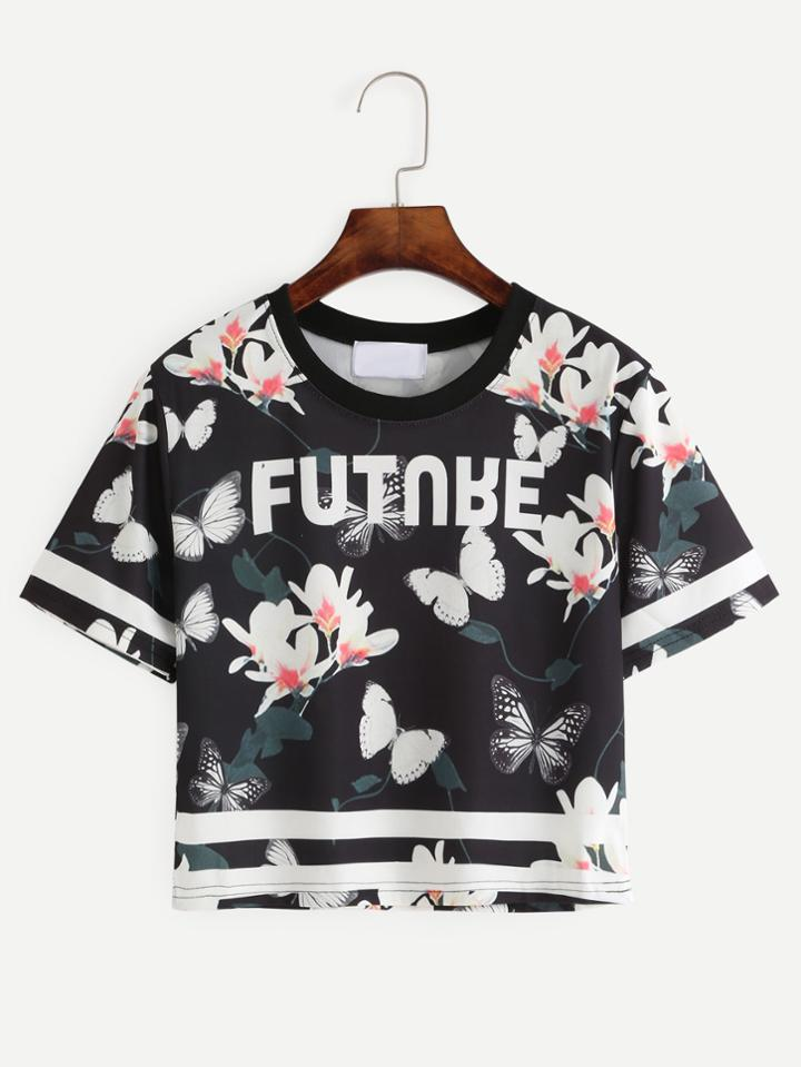 Romwe Black Flower And Butterfly Print Varsity T-shirt