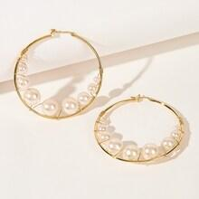 Romwe Faux Pearl Decor Oversized Hoop Earrings 1pair