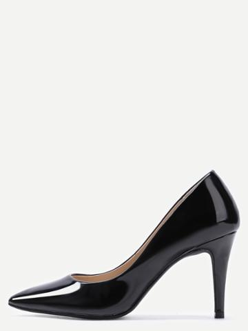 Romwe Black Faux Patent Leather Pointed Toe Pumps
