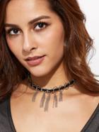 Romwe Silver Circle Chain Tassel Choker Necklace
