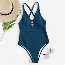 Romwe Criss Cross Ladder Cut-out One Piece Swimsuit