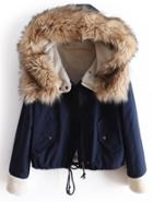 Romwe Faux Fur Hooded Navy Coat