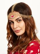 Romwe Gold Plated Rhinestone Pendant Head Chain