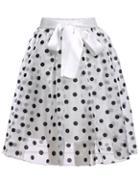 Romwe Polka Dot Sheer Mesh White Skirt