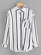 Romwe Vertical Striped Shirt With Pocket