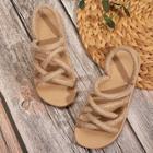 Romwe Criss Cross Open Toe Slingback Sandals