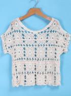 Romwe Lace Crochet Crop Top