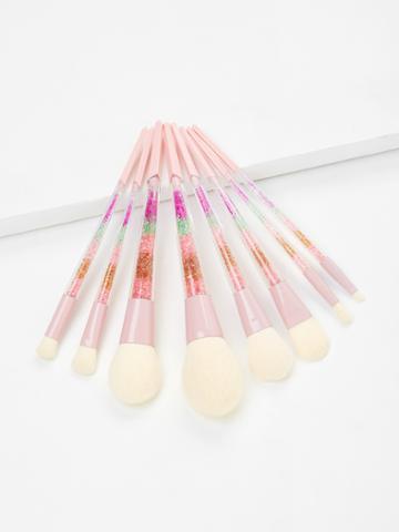 Romwe Color Block Handle Makeup Brush Set 8pcs