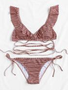 Romwe Striped Print Strappy Bikini Set