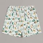 Romwe Guys Mixed Print Drawstring Waist Shorts