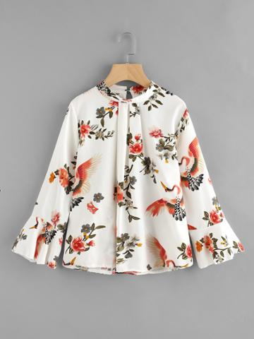 Romwe Fluted Sleeve Floral Print Pleated Front Blouse