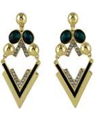 Romwe Dark Green Triangle Gemstone Gold Earrings