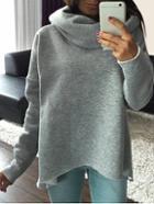 Romwe Grey Cowl Neck Long Sleeve Loose Sweatshirt