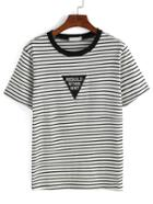 Romwe Striped Embroidered Patch T-shirt