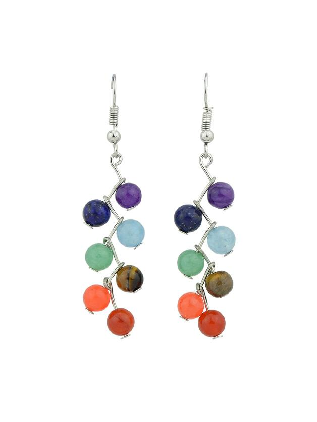 Romwe Pure Bohemian Jewelry Statement Colorful Beads Party Dangle Earrings